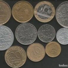 Monedas antiguas de Europa: FRANCIA - LOTE DE 11 MONEDAS CIRCULADAS (VER DESCRIPCION). Lote 179202268