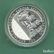 Monedas antiguas de Europa: PLATA-POLONIA. 10 ZLOTYCH 2007 PROOF. 14,14 GRAMOS DE LEY 925. SZYMANOWSKIEGO. Lote 179548631