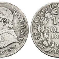 Monedas antiguas de Europa: *** BONITOS 10 SOLDI 1867 DE LOS ESTADOS PONTIFICIOS (VATICANO). KM#1376. PLATA ***. Lote 180161477