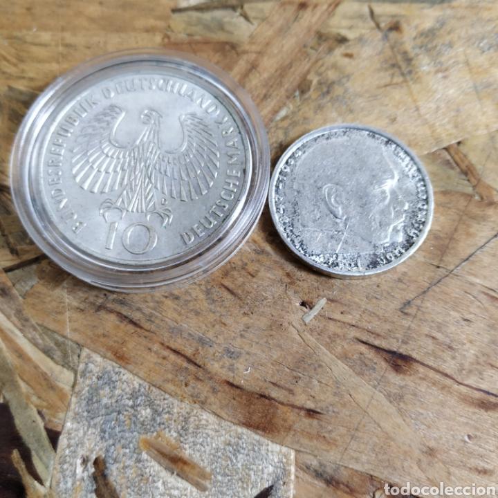Monedas antiguas de Europa: 2 reichsmark III reich plata 1938 y 10 marcos plata 1972 - Foto 2 - 181081285