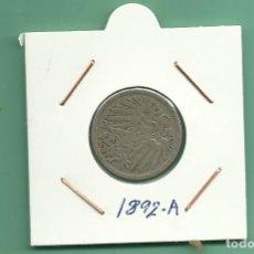 Monedas antiguas de Europa: ALEMANIA IMPERIAL 10 PFENING 1892-A. CUPRONIQUEL. Lote 181150217