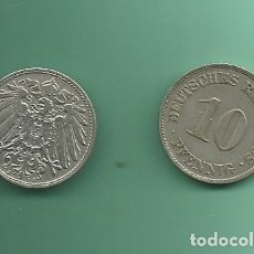 Monedas antiguas de Europa: ALEMANIA IMPERIAL 2X10 PFENING 1908-A,J. CUPRONIQUEL. Lote 181194557