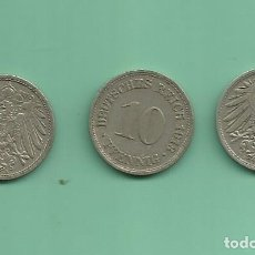 Monedas antiguas de Europa: ALEMANIA IMPERIAL 3X10 PFENING 1913-A,D,F. CUPRONIQUEL. Lote 181194911