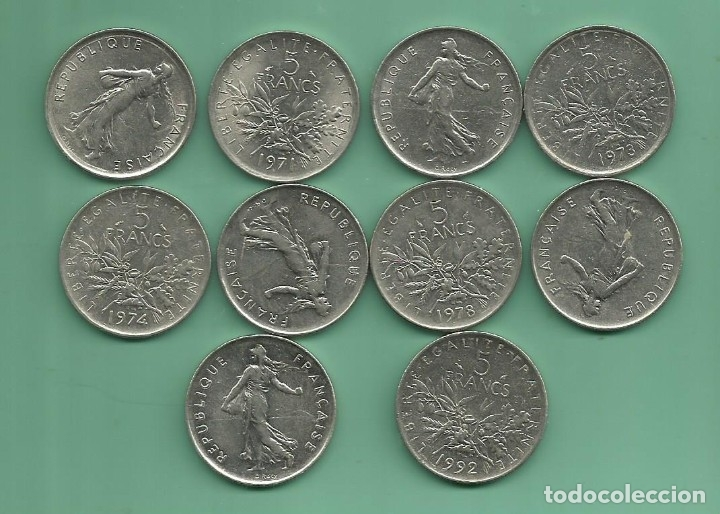 FRANCIA. 10 MONEDAS DE 5 FRANCS 1970,71,72,73,74,75,78,87,90,94 (Numismática - Extranjeras - Europa)