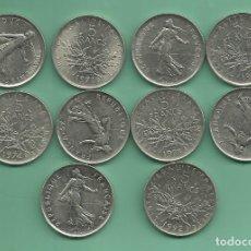Monedas antiguas de Europa: FRANCIA. 10 MONEDAS DE 5 FRANCS 1970,71,72,73,74,75,78,87,90,92. Lote 181486907