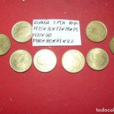 Monedas antiguas de Europa: LOTE DE MONEDAS DE ESPAÑA 8 MONEDAS 1 PESETA REY 30 GR. Lote 181999653