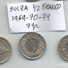 Monedas antiguas de Europa: LOTE DE MONEDAS DE SUIZA MEDIO FRANCO 3 MONEDAS 7 GR. Lote 182000805