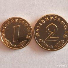 Monedas antiguas de Europa: 2 MONEDAS BAÑADAS EN ORO 24K- 2 Y 1 REICHSPFENNING 24K 1939 Y 1940 - SC/BU. Lote 182646165