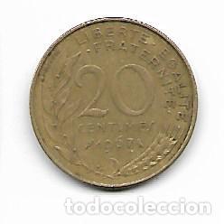 20 CÉNTIMOS FRANCO FRANCÉS 1967 (Numismática - Extranjeras - Europa)