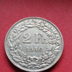 Moneda Suiza Plata 2 francos 1940 MBC