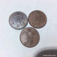 Monedas antiguas de Europa: FINLANDIA 3 MONEDAS DE 1 PENNI 1893,1909 Y 1911. Lote 183269187
