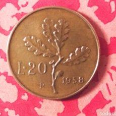 Monedas antiguas de Europa: 20 LIRAS 1958 ITALIA SC. Lote 183500860