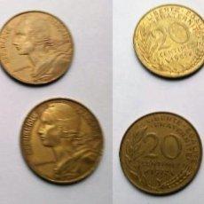 Monedas antiguas de Europa: FRANCIA, 4 MONEDAS DE 20 CNTS. DE FRANCO, DIFERENTES EMISIONES. Lote 183876060