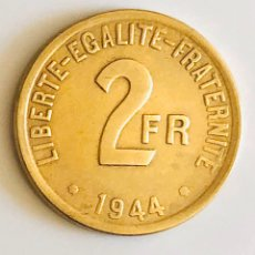 Monedas antiguas de Europa: 2 FRANCOS BRONCE 1944 FRANCIA LIBRE II GUERRA MUNDIAL. Lote 173922872
