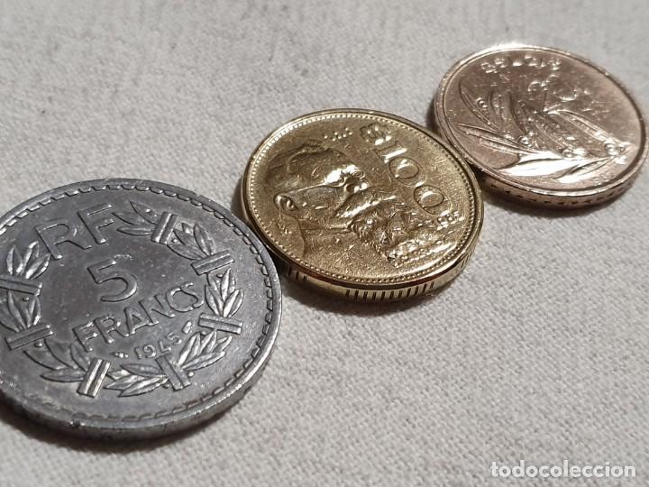 Monedas antiguas de Europa: Lote 3 monedas MBC - 5 francs + 100 pesos + 20 francs - Foto 2 - 184664270