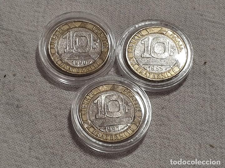 FRANCIA - LOTE 3 MONEDAS DE 10 FRANCS - MBC+ - 1988, 1990 Y 1991 (Numismática - Extranjeras - Europa)