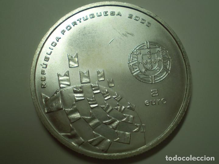 Monedas antiguas de Europa: 8 EUROS PLATA 2003 PORTUGAL. Eurocopa Futbol 2004 - Los valores del Fútbol (Excelente estado) - Foto 2 - 186027957
