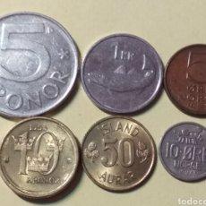 Monedas antiguas de Europa: LOTE 6 MONEDAS DE ISLANDIA, NORUEGA Y SUECIA. Lote 186243222