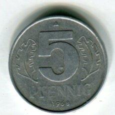 Monedas antiguas de Europa: REPUBLICA DEMOCRATICA ALEMANA 5 PFENNIG AÑO 1968. Lote 187471490