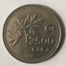 Monedas antiguas de Europa: 2.500 LIRAS 1992 TURQUÍA. Lote 187591797