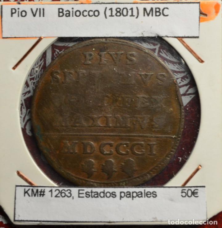 PIO VII BAIOCCO (1801) MBC KM# 1263, ESTADOS PAPALES (Numismática - Extranjeras - Europa)