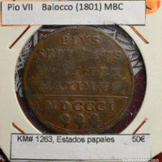 Monedas antiguas de Europa: PIO VII BAIOCCO (1801) MBC KM# 1263, ESTADOS PAPALES . Lote 187649330