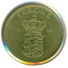 Monedas antiguas de Europa: DINAMARCA 1 CORONA / KRONE 1958 ( MBC ) KM # 837.2 - FREDERIK IX. Lote 189108366