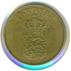 Monedas antiguas de Europa: DINAMARCA 2 CORONAS / KRONER 1957 ( BC ) KM # 838.2 - FREDERIK IX. Lote 189108385