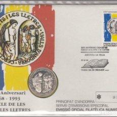 Monedas antiguas de Europa: PRINCIPAT D'ANDORRA -1993- EMISSIO OFICIAL FILATELICA NUMISMATICA -CERCLE DE LES ARTS I LES LLETRES. Lote 189644028