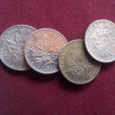 Monedas antiguas de Europa: FRANCIA. LOTE DE 4 MONEDAS DE 5 FRANCOS DE PLATA. Lote 214223770