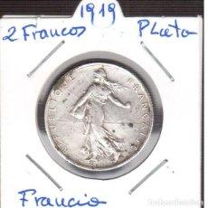 Monedas antiguas de Europa: 2 FRANCOS PLATA 1919 LA QUE VES . Lote 190282292