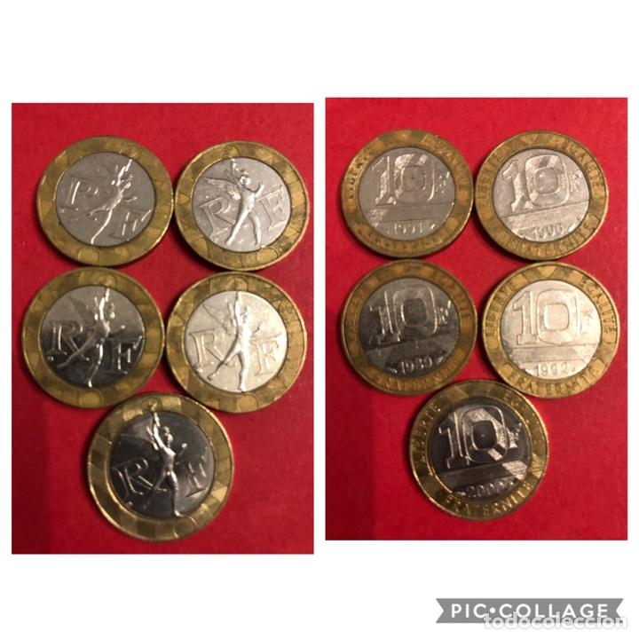 LOTE 5 MONEDAS 10 FRANCS.FRANCIA (Numismática - Extranjeras - Europa)