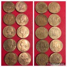 Monedas antiguas de Europa: LOTE 10 MONEDAS 10 CENTIMES FRANCIA. MBC. Lote 191377117