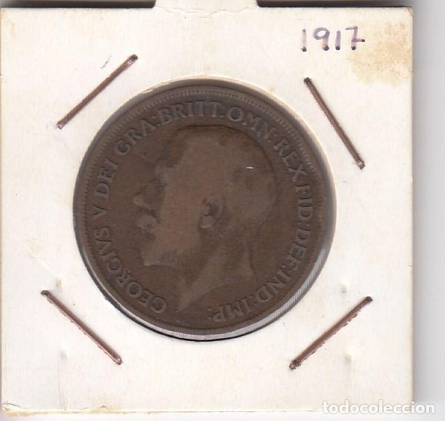 MONEDA GEORGIVS V DEI GRA BRITT EMPERADOR 1917 ONE PENNY (COBRE). MBC+ (Numismática - Extranjeras - Europa)