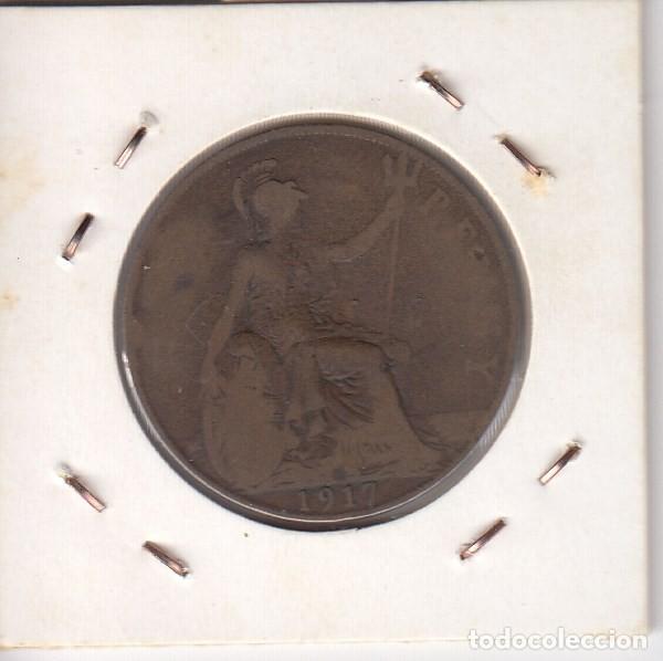 Monedas antiguas de Europa: moneda georgivs v dei gra britt emperador 1917 one penny (cobre). mbc+ - Foto 2 - 191557135