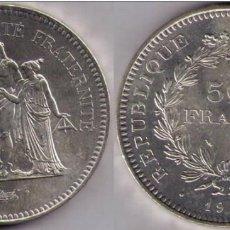 Monedas antiguas de Europa: FRANCIA - 50 FRANCOS - 50 FRANCS DE PLATA DE 1977. Lote 191646623