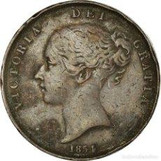 Monedas antiguas de Europa: MONEDA, GRAN BRETAÑA, VICTORIA, PENNY, 1854, BC+, COBRE, KM:739. Lote 191927557