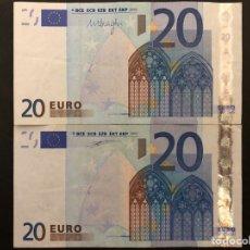 Monedas antiguas de Europa: PAREJA BILLETES 20 EUROS 2002. MBC.. Lote 191929528