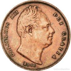 Monedas antiguas de Europa: MONEDA, GRAN BRETAÑA, WILLIAM IV, FARTHING, 1836, MBC, COBRE, KM:705. Lote 191930396