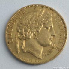 Monedas antiguas de Europa: 20 FRANCOS DE ORO REPÚBLICA FRANCESA 1850. Lote 192754575