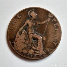 Monedas antiguas de Europa: GRAN BRETAÑA, ONE PENNY DE 1913, GEORGE V, MUY BUEN ESTADO. Lote 192984987