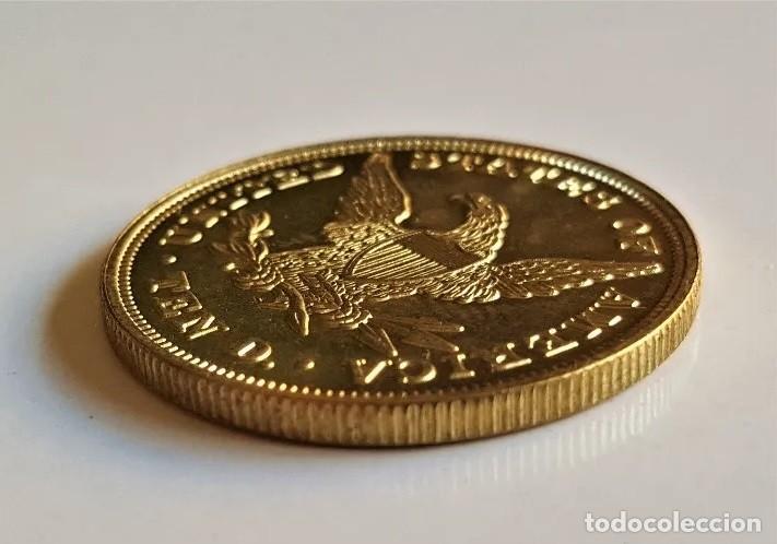 Monedas antiguas de Europa: Replica de la famosa 10 dollars 1838 Gold Eagle Liberty, de Estados Unidos - Foto 3 - 192985696