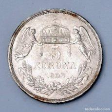 Monedas antiguas de Europa: FRANCISCO JOSÉ I 5 CORONAS HUNGRÍA 1908 KM 488. Lote 194216870