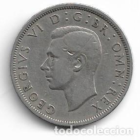 Monedas antiguas de Europa: INGLATERRA,1/2 CORONA 1947. - Foto 2 - 194243488