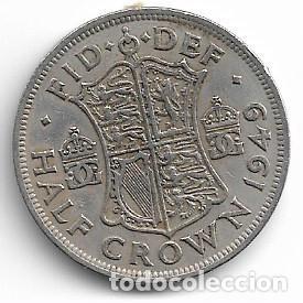 INGLATERRA,1/2 CORONA 1949. (Numismática - Extranjeras - Europa)