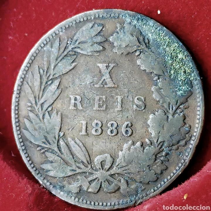 Monedas antiguas de Europa: LA MÁS ESCASA. Portugal 10 reis 1886 - Foto 2 - 194250165
