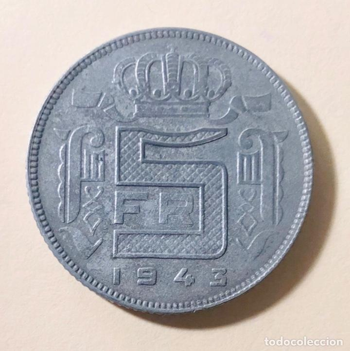5 FRANCOS OCUPACIÓN NAZI BÉLGICA 1943 II GUERRA MUNDIAL (Numismática - Extranjeras - Europa)