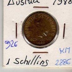 Monedas antiguas de Europa: AUSTRIA 1 SCHILLING 1988. Lote 194318071