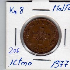 Monedas antiguas de Europa: MALTA 1 CENTIMO 1977. Lote 194343042