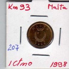 Monedas antiguas de Europa: MALTA 1 CENTIMO 1998. Lote 194343082